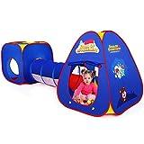 Kinderspielzelt mit Spielhaus Tunnel und Zelt Tasche 3 in 1 Pop Up Spielzelt, Prinzessin Zelt für Jungs mädchen Zuhause & im Garten (blau)