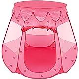 LittleTom Mädchen Spielzelt 120x120x90cm - Kinder-Zelt Bällebad Pop-up Zelt Rosa