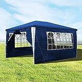 Hengda Pavillon 3x4m Wasserdicht Blau Festzelt Partyzelt UV-Schutz Gartenpavillon mit 4 Seitenteilen für Garten Terrasse Markt