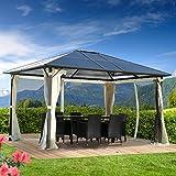 BRAST Alu-Pavillon Premium 3x4m beige festes Dach wasserdicht + Moskitonetz + LEDs 2 Farben 3 Größen 16 Modelle