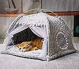 ITODA Haustier Tipi Hunde Katze Zelt Haustierzelt Plüsch Hundezelt Katzenzelt Abnehmbar Katzenbett Hundebett Kuschelig Haustierbett mit Tiermatratze Waschbar Tierbett für Kleine/Mittlere Hunde Katze