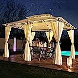 Luxus LED - Pavillon 3x4m Minzo - inkl. Seitenwände mit LED Beleuchtung + Solarmodul Designer Gartenpavillon optional mit Moskitonetz Gartenzelt Partyzelt (mit Moskitonetz, anthrazit)