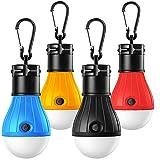 Campinglampe, 4 Stücke Wasserdicht Tragbare LED Camping Laterne mit Karabinerhaken, Set-Notlicht COB 150 Lumen Zeltlampe Glühbirne für Camping Abenteuer Angeln Garage Stromausfall