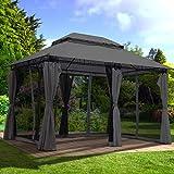 BRAST Pavillon Easiness 300x400x265cm anthrazit festes Dach wasserdicht + Moskitonetz 2 Farben 8 Modelle