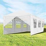 Hengda 3x9m Pavillon UV-Schutz weiß Partyzelt Material PE-Plane Gartenzelt Hochwertiges mit 8 Seitenteilen für Hochzeit Party Garten Markt