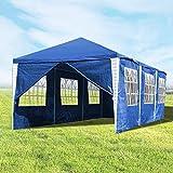 Hengda 3x9m Pavillon UV-Schutz Blau Partyzelt Material PE-Plane Gartenzelt Hochwertiges mit 8 Seitenteilen für Hochzeit Party Garten Markt