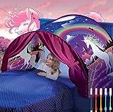 Nifogo Traumzelt Bettzelt Tent Traumzelt Kinderbett Drinnen Kinder Zelt Geschenke für Kinder (A- Einhorn)